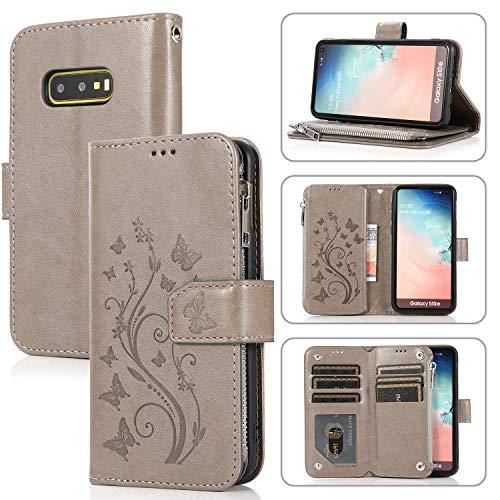 Karomenic Funda de piel sintética compatible con Samsung Galaxy S10e 3D flores en relieve, funda de teléfono móvil con cremallera, funda de TPU con función atril, funda tipo libro, color gris