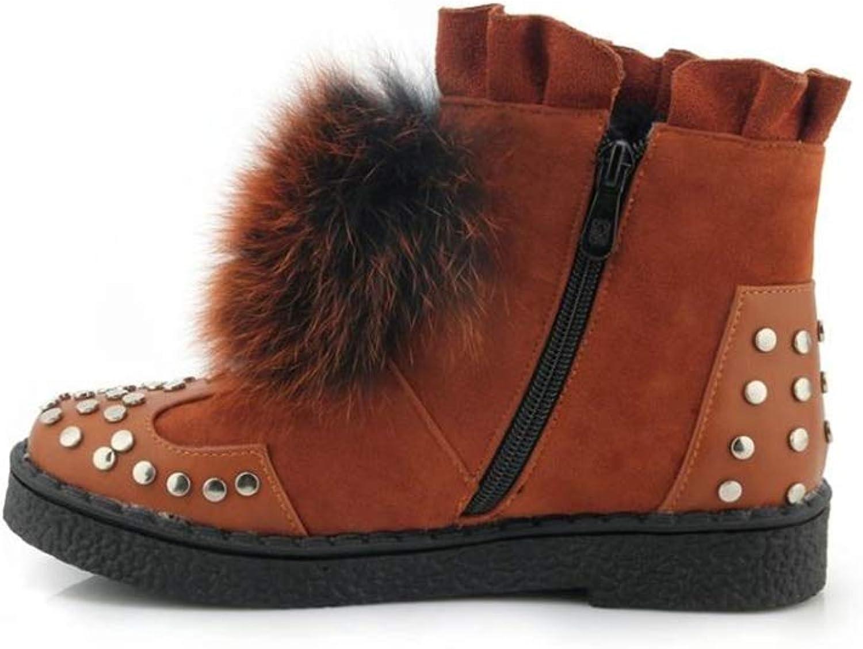 pink town Women Plus Velvet Plush Non-Slip Booties Fur Ball Fashion Warm Snow Boots