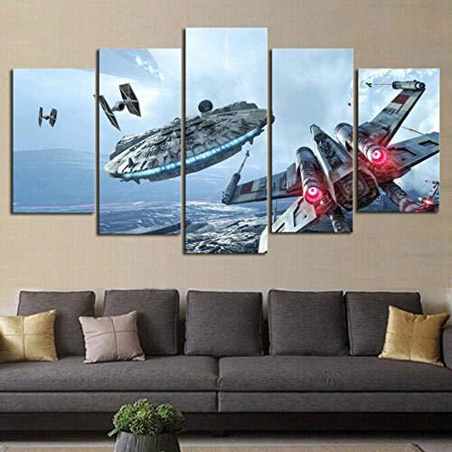 XUEI Halcón Milenario del Destructor de Star Wars Cuadro Moderno En Lienzo 5 Piezas Póster De Arte Moderno Oficina Sala De Estar O Dormitorio Decoración del Hogar Arte De Pared 150x80cm(Enmarcado