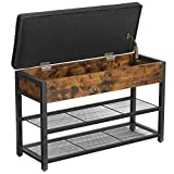 VASAGLE COPADION Shoe Bench, Padded Shoe Bench with Flip Lid, Hidden Compartment, and 2 Mesh Shelves, Industrial, Rustic Brown and Black ULSB048B01