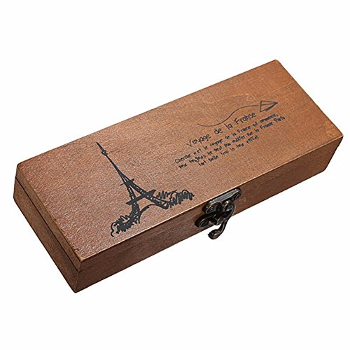 seawang Retro Eiffelturm Stift Bleistift Fall Halter Stationery Aufbewahrung Holz Box