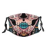 Sugar Skull Face Mask Fashion Balaclava,Washable Reusable Bandana Scarf with 2 Filter for Men & Women Black
