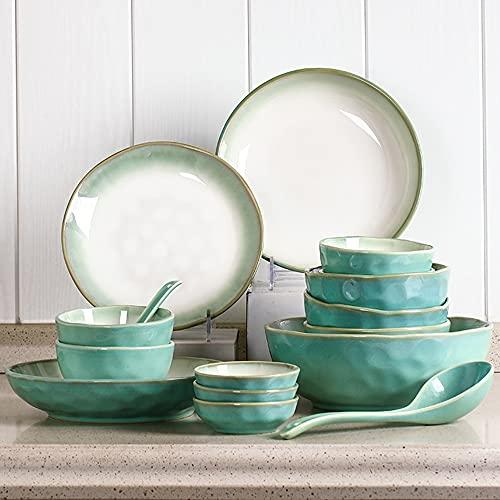 Conjunto de platos de 22 piezas para el hogar Coreano Simple 6 personas Tazón de fuente y placa Palillos Combinación Cerámica Cerámica Bowl Soup Town Bowl Setware