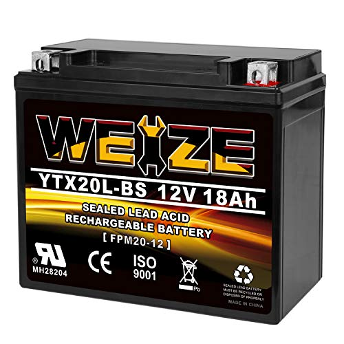 Weize YTX20L-BS High Performance Power Sports- Maintenance Free - Sealed AGM Battery ETX20L BS For Motorcycle ATV UTV snowmobile