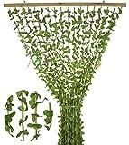 Tenda Antimosche a Foglie e Bamboo per Porta Finestra Moschiera a Pannello Misura 120 x 220 cm Colore Verde e Marrone