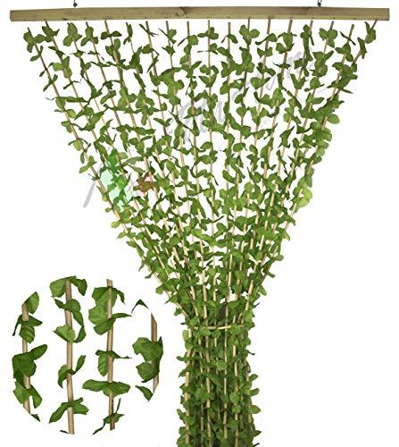 Tenda Antimosche a Foglie e Bamboo per Porta Finestra Moschiera a Pannello Misura 100 x 220 cm Colore Verde e Marrone