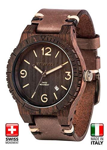 WeWOOD Herren Armbanduhr Alpha SW Black Rough mit Holz Armband Nr.WW08008