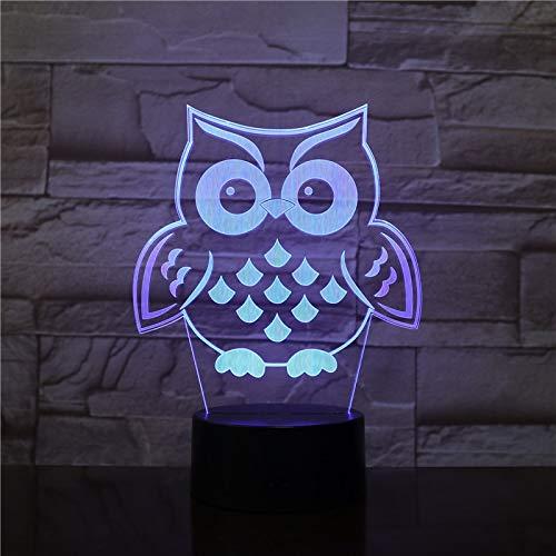 (Nur 1) OWL Bird 3D LED Nachtlicht Multicolor RGB Schlafzimmer Dekor 3D Lampe für Kinder Weihnachtsgeschenk Spielzeug Lampe Drop Ship Amazon