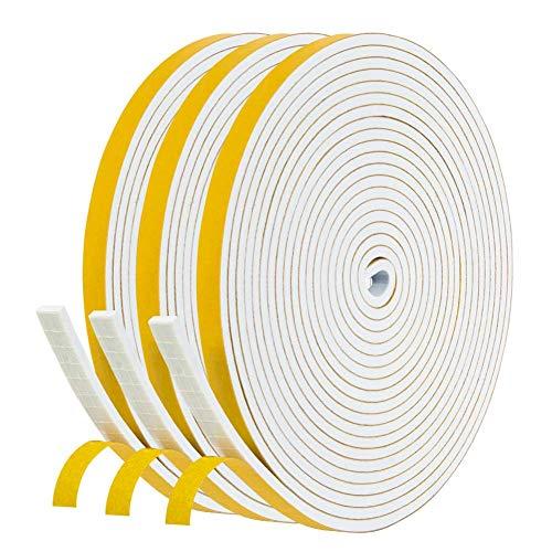 Dichtband Selbstklebend Gummidichtung 6mm x 3mm, NAVK 15m Dichtungsband für Tür Fenster Bad Dusche, Anti Kälte-Wind Lärm und Kollision -Weiß (5m x 3 Rollen)