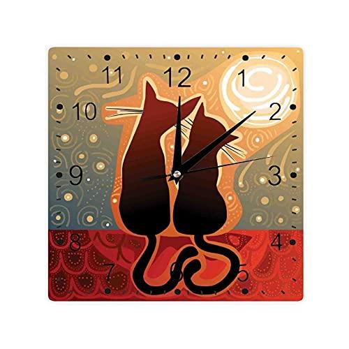 Mujer Y Hombre Gatos En Amor Viendo Luna Luna En Cielo Estrellado Impresión Color Cuadrado Morden Reloj Slient