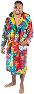 Image of Colorful Fleece Hooded Tie Dye Bath Robe for Men