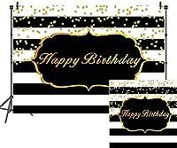 HD7x5ftお誕生日おめでとう背景ゴールデンドット黒と白のストライプ写真の背景子供のためのベビーシャワー大人の誕生日パーティーの装飾写真スタジオの小道具LHAY288