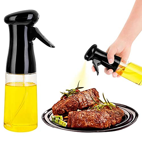 BAQI 1 spruzzatore per olio da 210 ml per cucinare, dispenser di olio d'oliva spray bottiglia nebulizzatore, riutilizzabile, per friggere ad aria, cucina, insalata, forno, barbecue, friggere