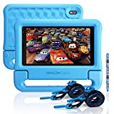 "Dragon Touch KidzPad Y88X 7 Kids Tablet with WiFi, Android 10, 7"" IPS HD Display, 32GB ROM, KIDOZ Pre-Installed, with Disney Authorized Contents, Kid-Proof Case, Shoulder Strap and Stylus, Blue"