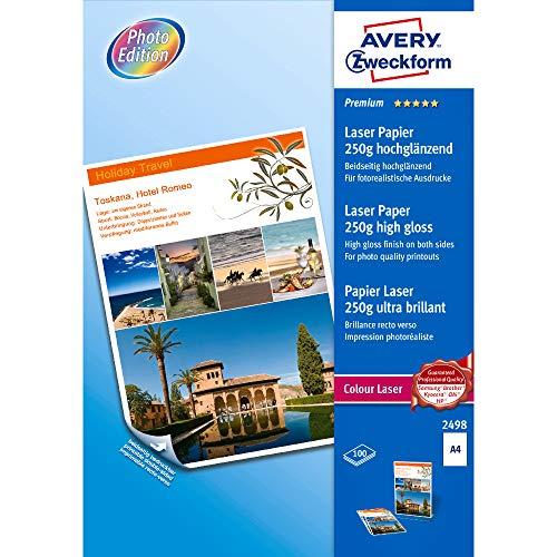 AVERY Zweckform 2498 Premium Colour Laser Papier (A4, beidseitig beschichtet, hochglänzend, 250 g/m², 100 Blatt)