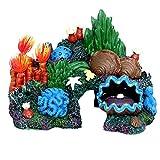 POPETPOP Resina Pecera Vista de Montaña Decoraciones Rock Cave Acuario Ornamental Pecera Artificial Coral Ornamentos Resina Roca Paisaje Planta Decoración Oculta Cueva