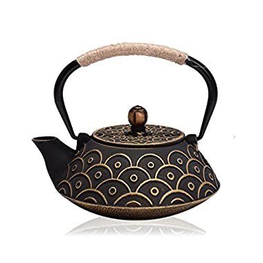 JUEQI Japanese Cast Iron Teapot Kettle with Stainless Steel Infuser / Strainer, 27 Ounce ( 800 ML )