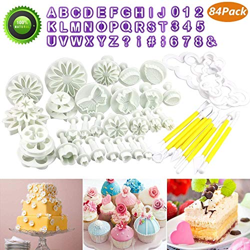 Buluri Backen Fondant Set, Fondant Ausstechformen Set DIY 84 TLG Kuchen Ausstecher Dekoration Mit Premium Backzubehör, Zahlen, Buchstaben,Passend für Ostergeschenke Cupcakes,Fondant Modellierwerkzeug