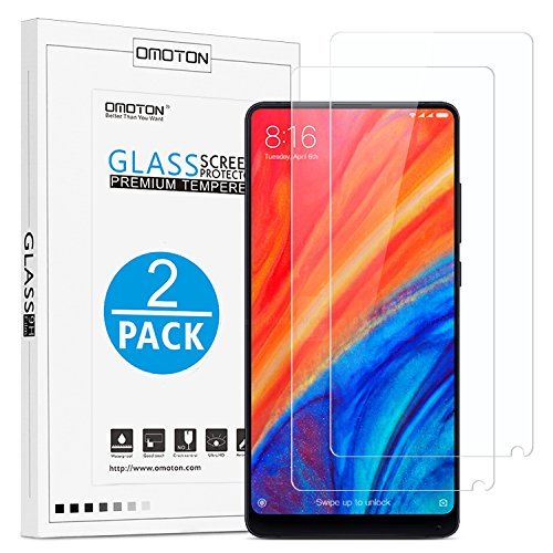 OMOTON [2 Pieces Compatible with Xiaomi Mi Mix 2 / 2S Tempered Glass Protective Film - 9H Hardness - Anti-Scratches - 99% Transparency and Sensitivity