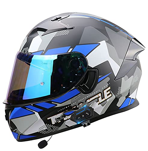 Bluetooth Integrado Casco de Moto Modular Cara Completa Abatible Certificación ECE Forro Extraíble Carcasa de ABS Unisex Capota Transpirable y Cómoda,para Mujeres y Hombres Q,L=57~58cm