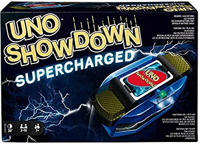 Mattel Games UNO Showdown Supercharged Family Card Game with 112 Cards and Showdown Supercharged Unit for Ages 7 Years Old and Up, Gift for Kid, Family or Adult Game Night