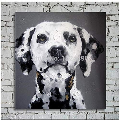 WSTDSM Noir Blanc Chien Animal Peinture À L'huile Sur Toile Mur Art Photos Salon Décor À La Maison Abstrait(50x75 cm, Pas De Cadre)