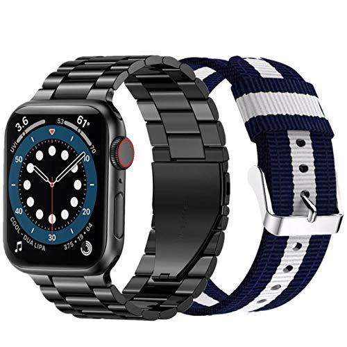 2 juegos de correas para apple watch band series 6 5 4 se 44mm 40mm pulsera para iwatch 3 42mm 38mm correa correa de nailon de acero inoxidable