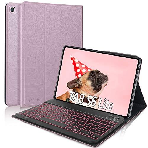 """DINGRICH Funda Teclado para Samsung Galaxy Tab S6 Lite 10.4"""", Español Ñ Teclado 7 Color Retroiluminación Bluetooth Inalámbrico Extraíble para Samsung Galaxy S6 Lite SM-P610/P615 2020 Tablet Oro Rosa"""