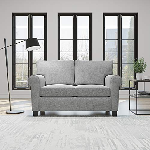 Everlane Home Willow Upholstered Sofa and Loveseat with Rolled Arms – Contemporary, Casual, Cozy, and Comfortable Love Seats, Misty Gray
