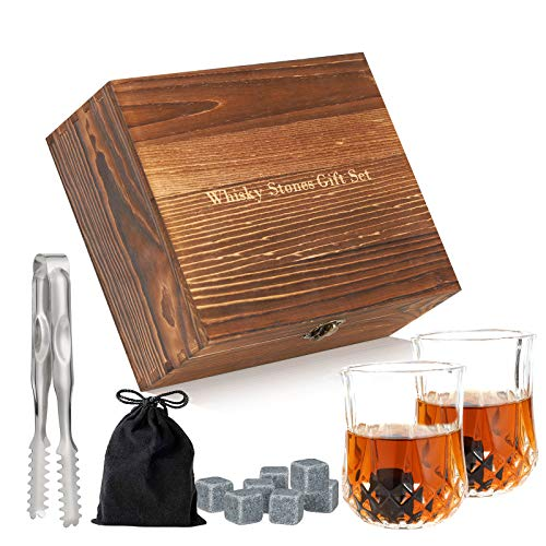 Whisky Stones and Glass Gift Set,2 Crystal Glasses +6 Whisky Rocks+ Ice...
