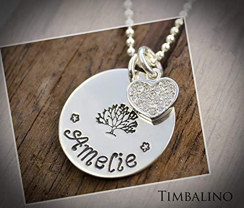 Namenskette aus 925 Silber Anhänger Plättchen rund mit Gravur, tree of life, Kristallherz