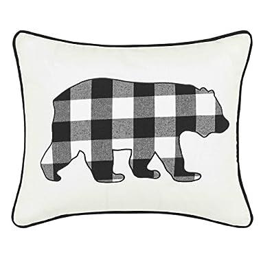 Eddie Bauer Cabin Plaid Bear Throw Pillow, 16 x 20, Black