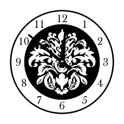 Instant Murals Design Elegant Damask Wall Clock, White and Black