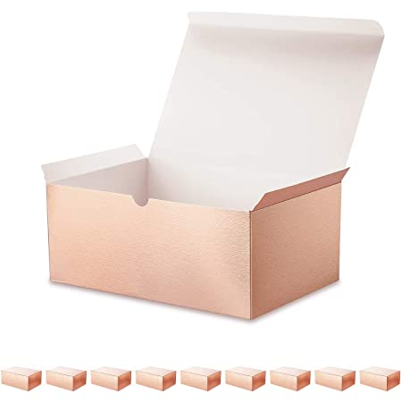 ROSEGLD 10 Gift Boxes 9.5x6.5x4 Inches Premium Gift Boxes Bridesmaid Proposal Boxes, Gift Boxes with Lids for Light Weight Gifts, Embossing Finished Paper Gift Boxes Rose Gold