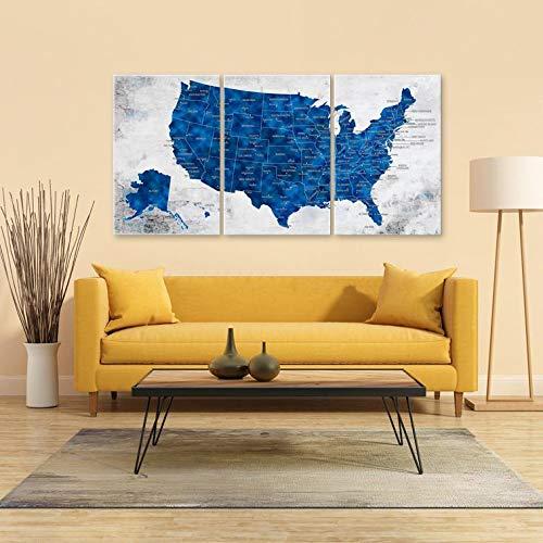 Us Map Wall Decor Amazon.com: US Map Wall Art, Push Pin Travel US Map, Blue United