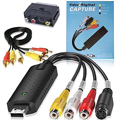 Enregistreur Boîtier d'acquisition Audio, HOTSO Convertisseur Audio Vidéo VHS Analogique vers Numerique avec Adaptateur Scart, RCA Câble Compatible pour Win 10 8 7 XP Vista