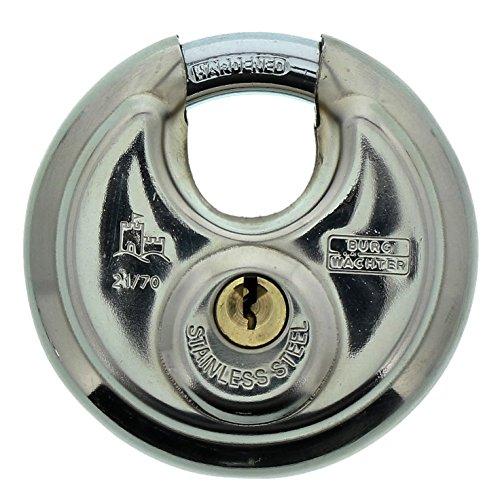 Burg-Wächter Rundbügelschloss, Vorhängeschloss mit Schlüssel, 10 mm Bügelstärke, Edelstahlkorpus, Messingschloss, Kneifschutz, Circle 21 70 SB