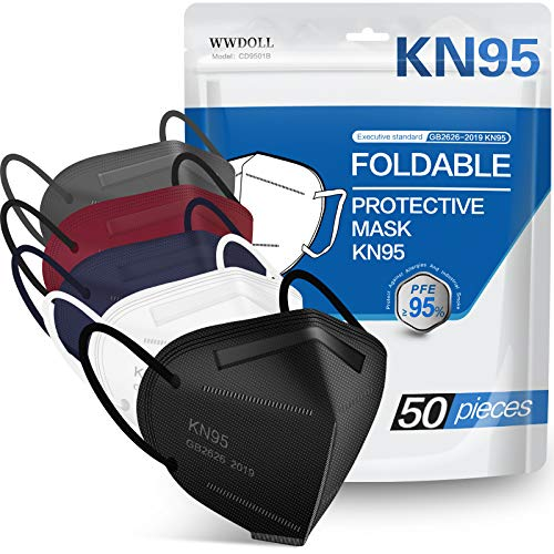 KN95 Face Mask 50 PCs, WWDOLL Multiple Colour 5 Layers KN95 Masks, Filter Efficiency≥95% Protection Against PM2.5 Dust, Air Pollution(Grey, Black, Red, Purple, White)