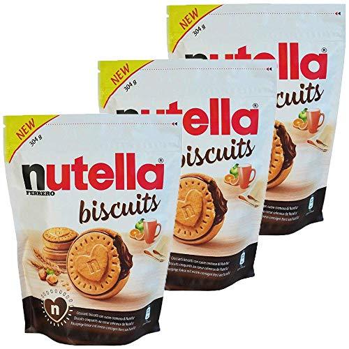 Nutella Biscuits 3 confezioni da 304g - Un delizioso biscotto croccante con tutta la cremosità e il gusto unico di Nutella Ferrero - Distribuito da Freedoney