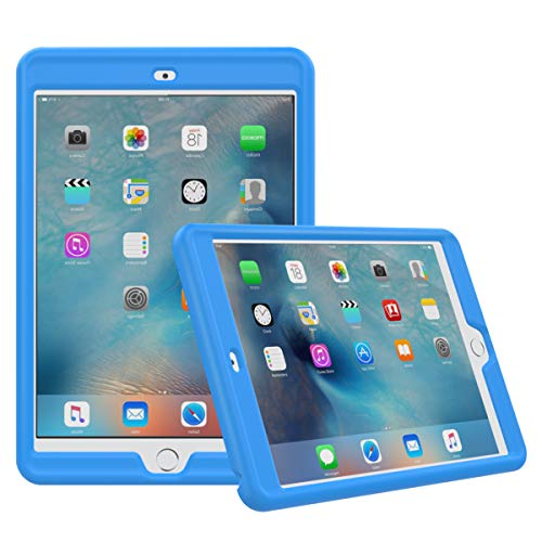 MoKo Case Fit iPad Mini 3/2/1- Light Weight Shock Proof Soft Silicone Back Cover [Kids Friendly] Fit iPad Mini 1 (2012), iPad Mini 2 (2013), iPad Mini 3 (2014), Blue