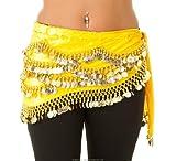 Turkish Emporium - Pañuelo para la cadera, diseño de bailarina, amarillo/dorado, Talla única