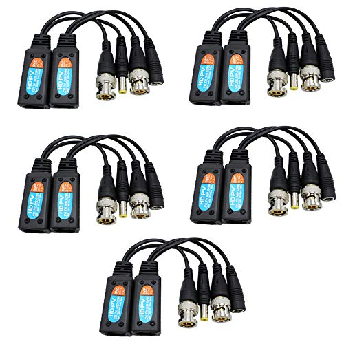 Passive Video Balun RJ45 Transceiver Transmitter HD-CVI/TVI/AHD/CVBS 8MP with DC Built-in Transient Suppression Protection for CCTV Security DVR Surveillance Camera System 5 Pairs