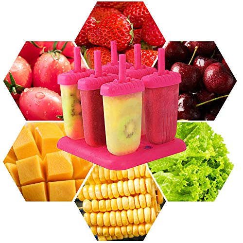 HengKe Popsicle Ice Mold Maker Set - 6 Pack BPA Free Reusable Ice Cream DIY Molds Holders With Tray & Sticks Popsicles Maker Fun for Kids and Adults best Gift for Party Indoor & Outdoor Assorted,pink
