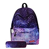 NIBESSER Galaxy Sac à Dos Galaxy Collège Scolaire Loisir Voyage Impermeable avec Trousse à Crayons