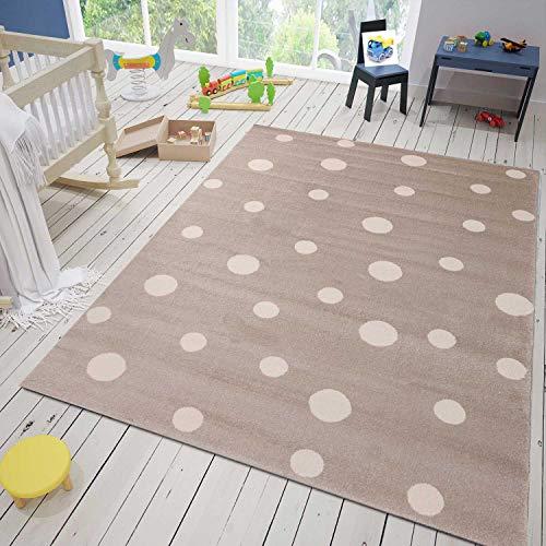 VIMODA Teppich Flauschige Qualität Beige Weiß Kunstfaser, Maße:120x170 cm