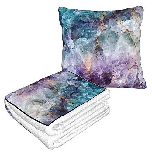 Manta de almohada de terciopelo suave 2 en 1 con bolsa suave, funda de almohada de cristal de cuarzo morado turquesa para el hogar, avión, coche, viajes, películas