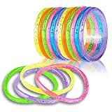 ArtCreativity Liquid Glitter Bracelets - Pack of 12 - 6 Inch Pieces - Assorted Bright Neon Colors - Fashionably Fun Party Favor and Collection - Amazing Gift Idea for Women, Boys and Girls
