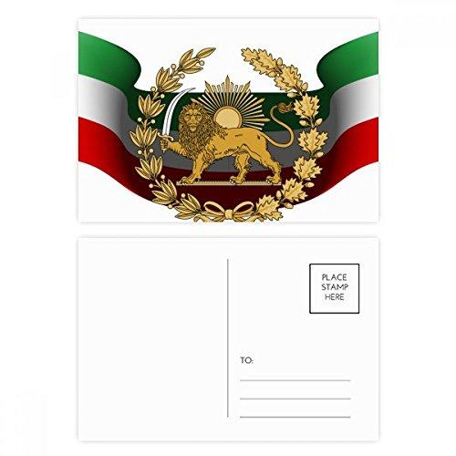 DIYthinker Iran Persien National Emblem Lion Sonne Postkartenset Geburtstag dankt Karte Mailing Side 20pcs 5.7 Zoll x 3.8 Zoll Mehrfarbig