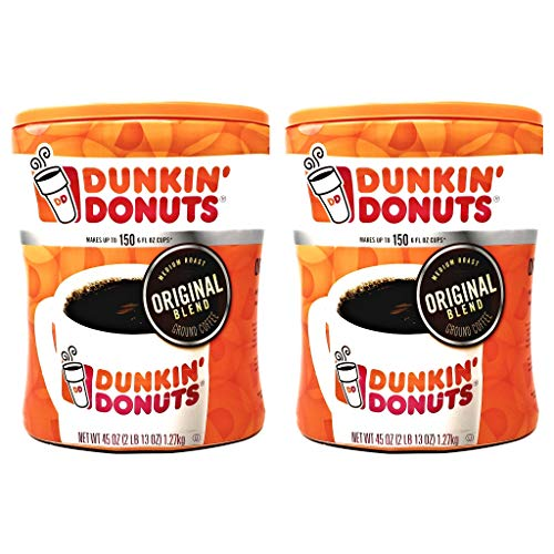 Dunkin Donuts Original Blend Ground Coffee - 90 oz Total - 45 oz Per Canister - Pack of 2 Canisters of Dunkin Donuts Ground Coffee - 100% Arabica Coffee - Medium Roast Coffee