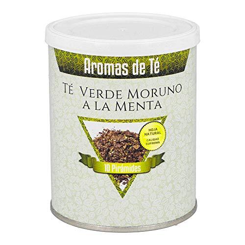 Aromas de Te - Te Verde Moruno a La Menta - China Gunpowder con Pipermint y Aroma Natural de Menta - Sabor a Hierbabuena - Infusion Natural - En Bolsitas - 10 Piramides